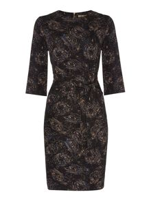 Biba Tiger face tie front jersey dress