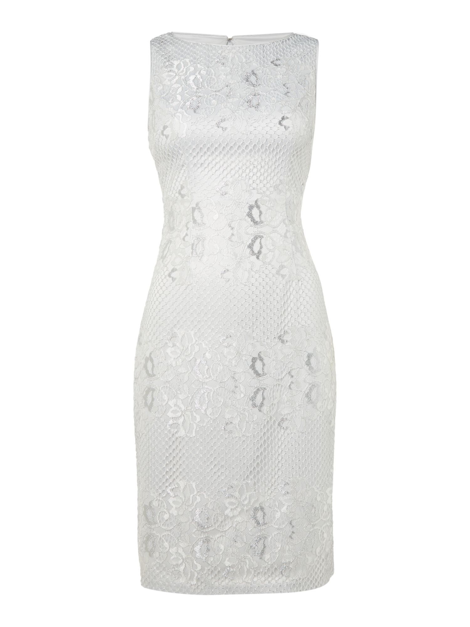 Eliza J Sleevless lace shift dress, Silver