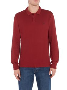 Original Penguin Raised-Rib Waffle Front Long Sleeve Polo