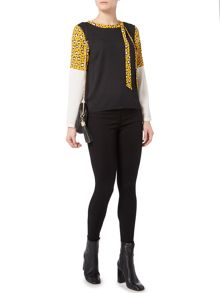 Biba Draped back printed colour block blouse
