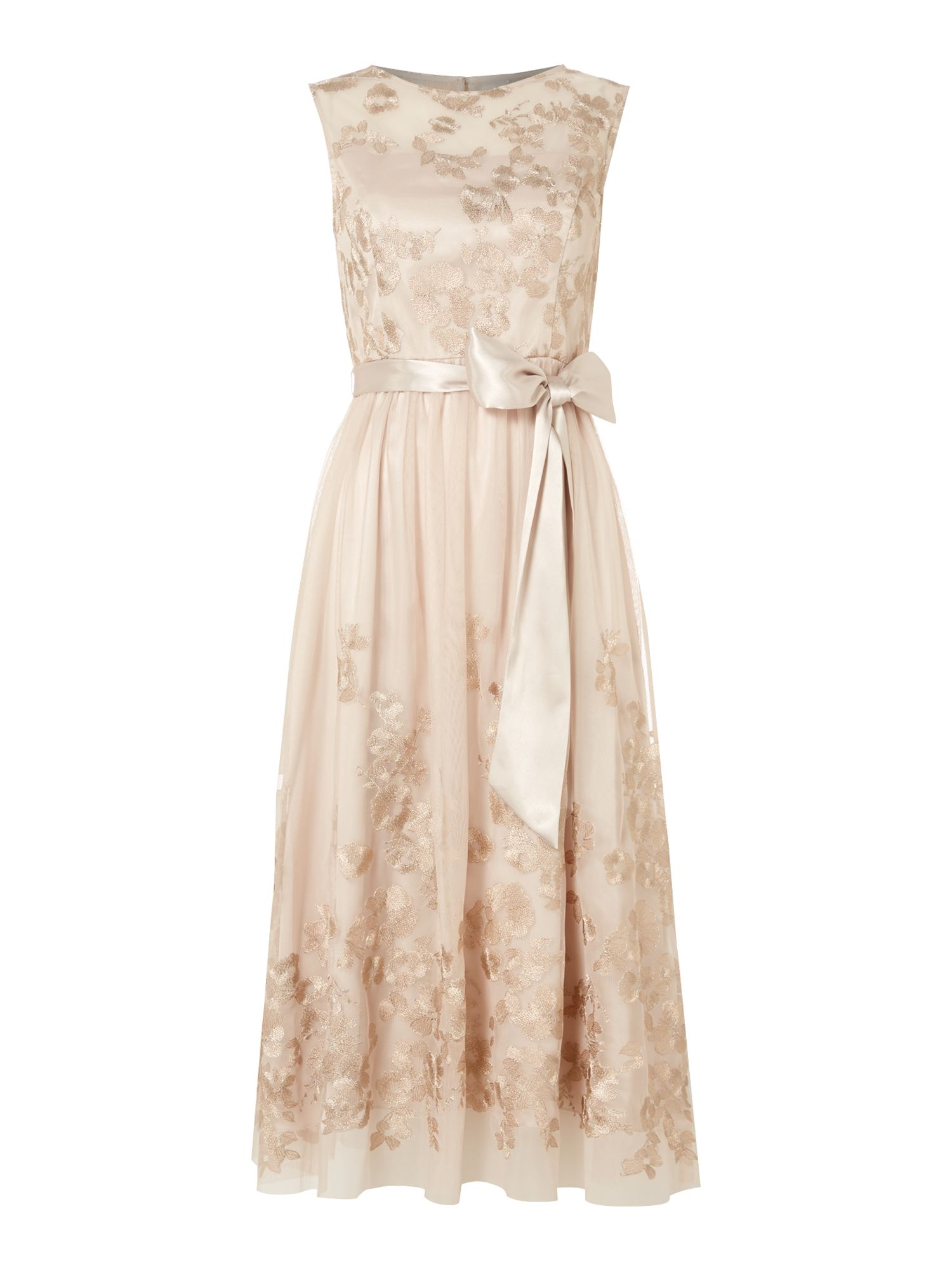 Eliza J Sleeveless floral embroidered dress with belt, Gold