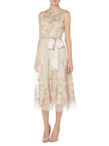 Eliza J Sleeveless floral embroidered dress with belt
