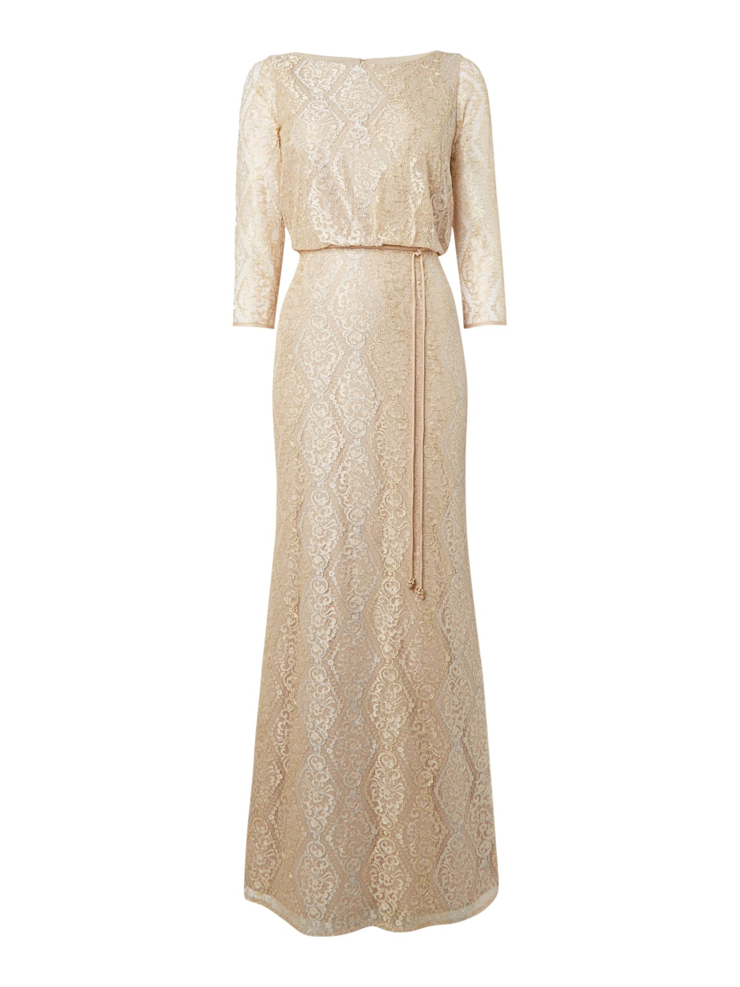 Eliza J Lace Blouson dress with spagetti belt, White