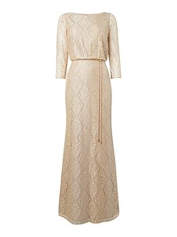 Lace Blouson dress with spagetti belt