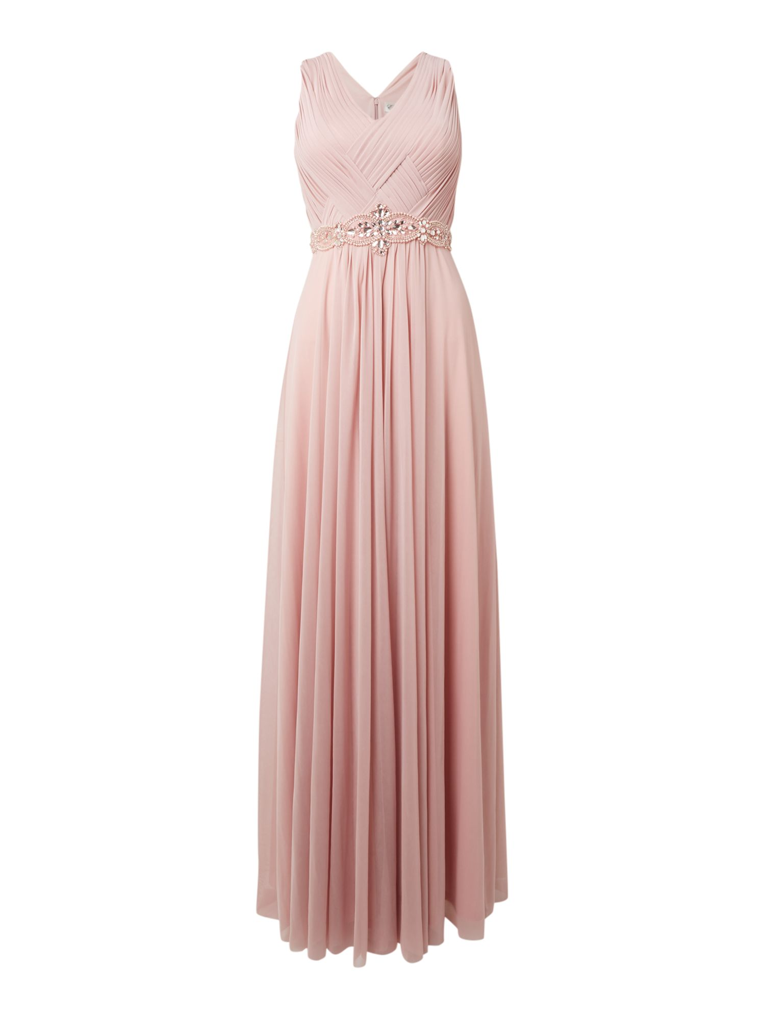 Best 1920s Prom Dresses – Great Gatsby Style Gowns Eliza J Sleeveless dress with beaded detail Rose £128.00 AT vintagedancer.com