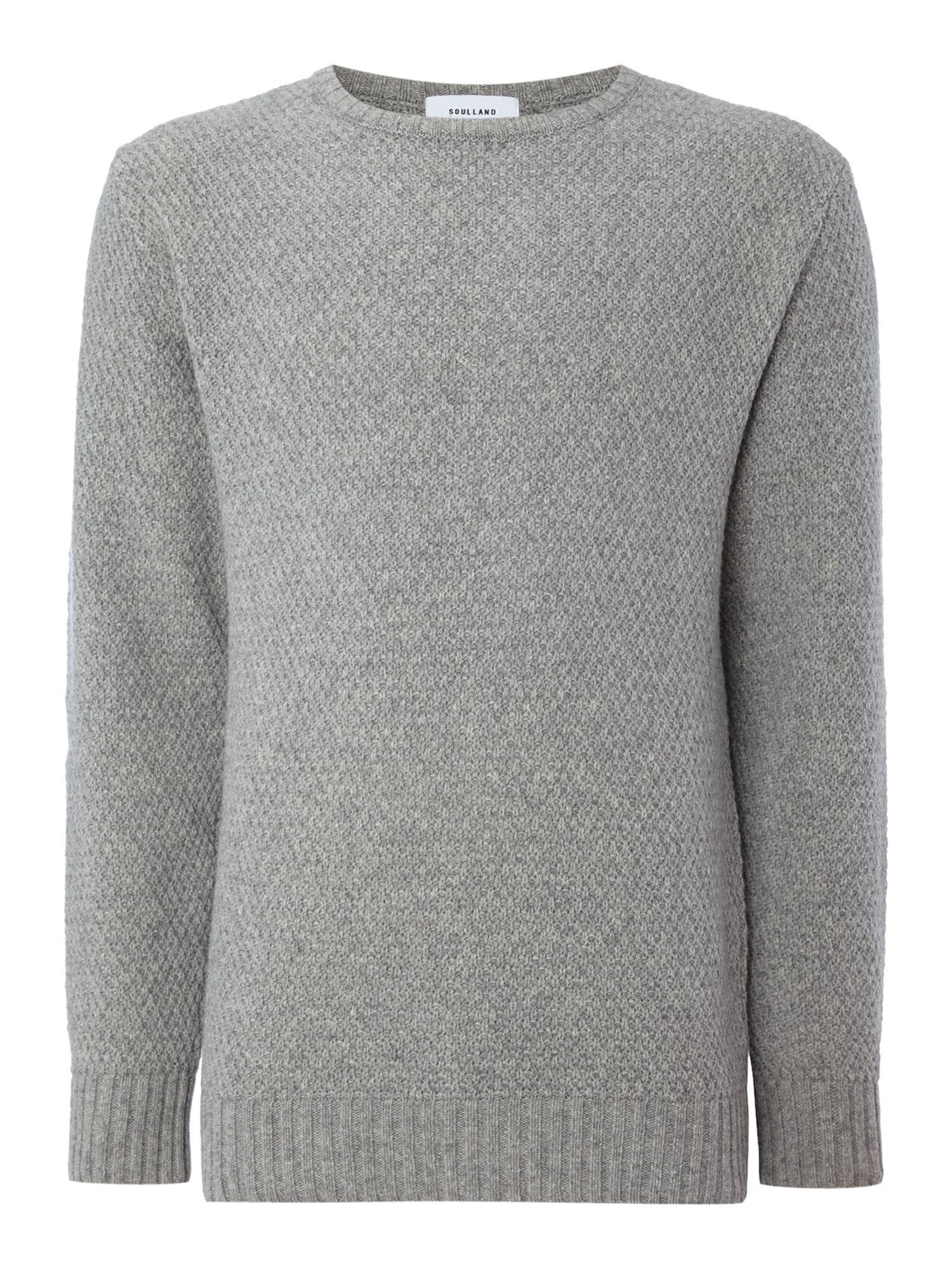 Soulland Men's Soulland Ricketts textured knitted crew neck jumper, Grey Marl