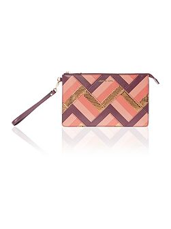 Daniela patchwork purple wristlet clutch bag