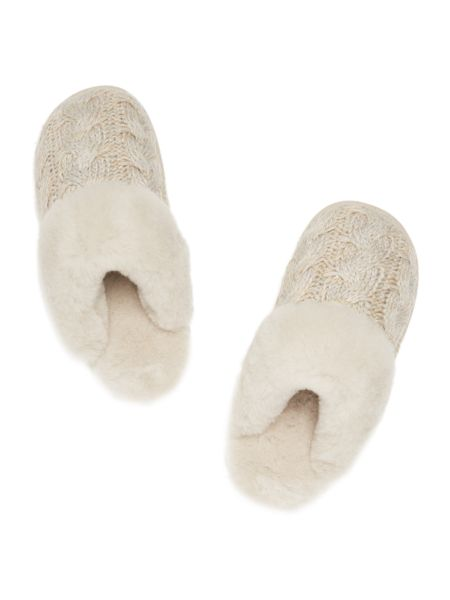Just Sheepskin New bloomsbury chunky cable knit mule