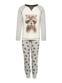 Benetton Boys Nightwear Racoon Top and Bottom PJ Set