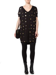 Biba Spot and logo print tunic dress