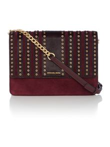 Michael Kors Brooklyn grommet purple cross body bag