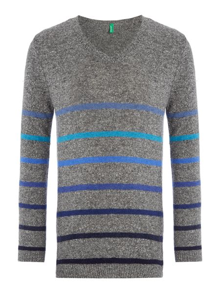 Benetton Boy`s Knit V Neck Stripe Jumper