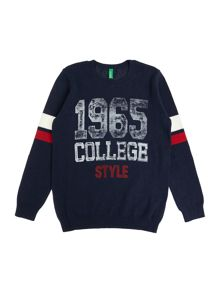 Benetton Boys Knit Jumper Stripe Logo
