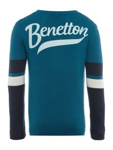 Benetton Boys Knit Stripe Logo Jumper