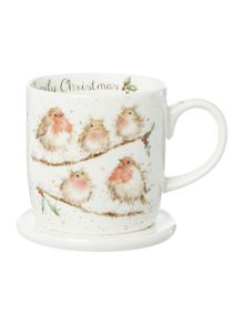 Royal Worcester Wrendale family birds christmas mug & coaster set