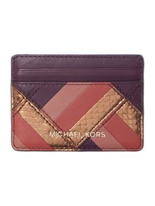 Michael Kors Marquertry patchwork purple card holder
