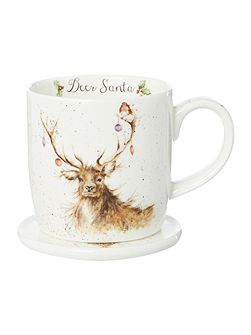 Wrendale deer santa mug & coaster set