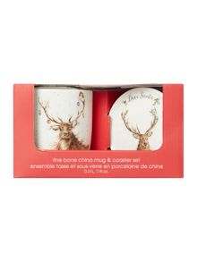 Royal Worcester Wrendale deer santa mug & coaster set
