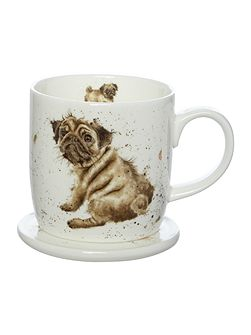 Wrendale pug love dog mug & coaster set