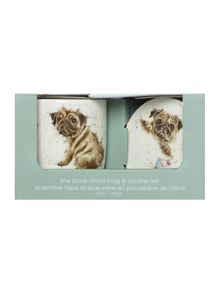 Royal Worcester Wrendale pug love dog mug & coaster set
