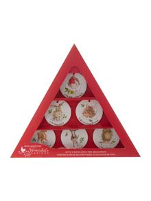 Royal Worcester Wrendale Set of 6 bone china tree decorations
