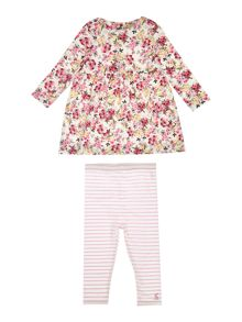 Joules Baby Girl Dress Floral Stripe Leggings