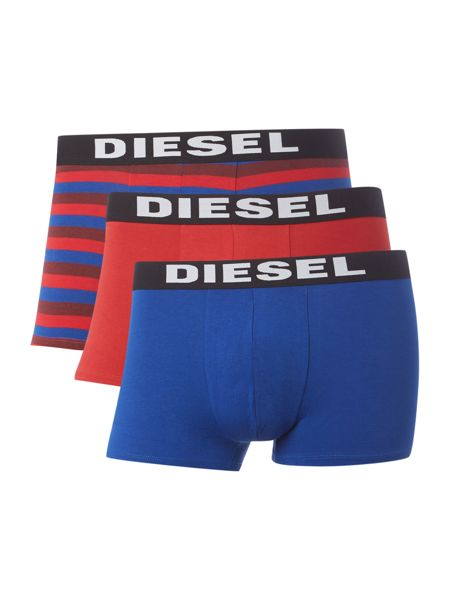 Diesel 3 Pack Shawn Stripe Text Waistband Trunks
