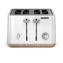 Morphy Richards Aspect steel 4 slot toaster, white wood