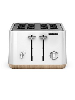 Aspect steel 4 slot toaster, white wood