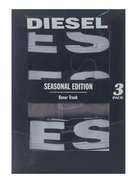 Diesel 3 Pack Shawn Large Text Waistband Trunks