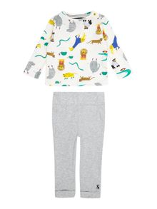 Joules Baby Boy Set Bottom Long Sleeve Top Zoo
