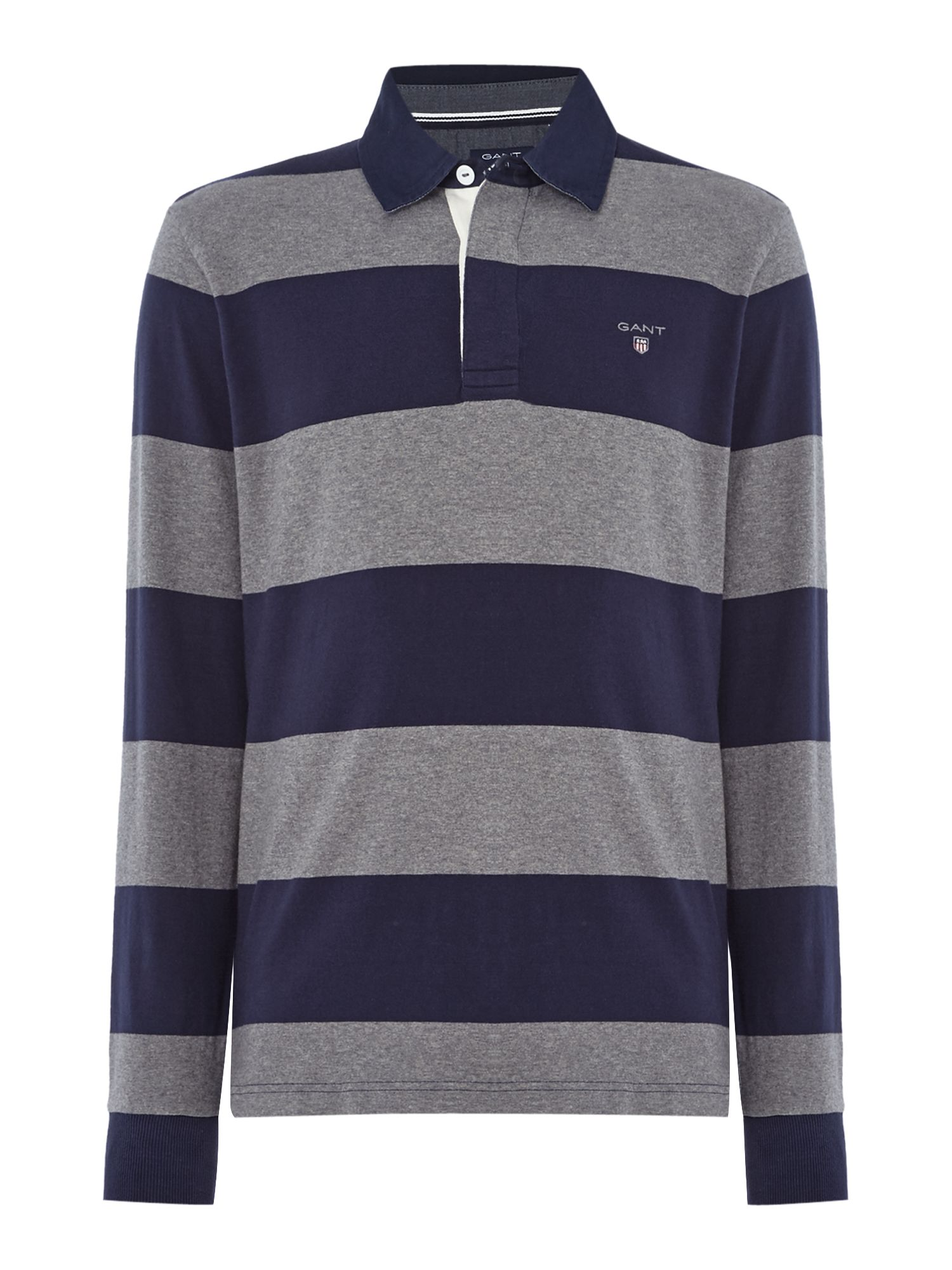 Men's Gant Striped Long-Sleeve Rugby Shirt, Grey
