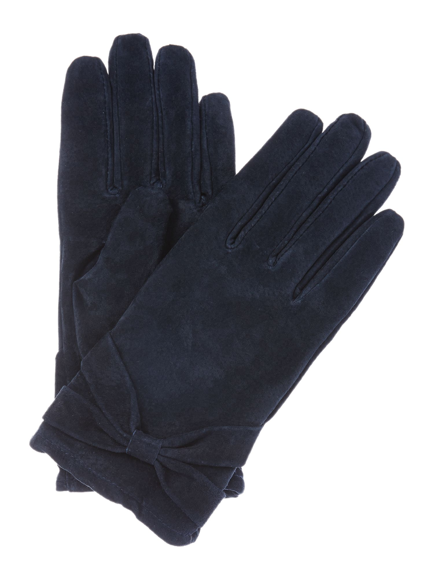 Isotoner Isotoner Suedette glove with bow detail, Navy