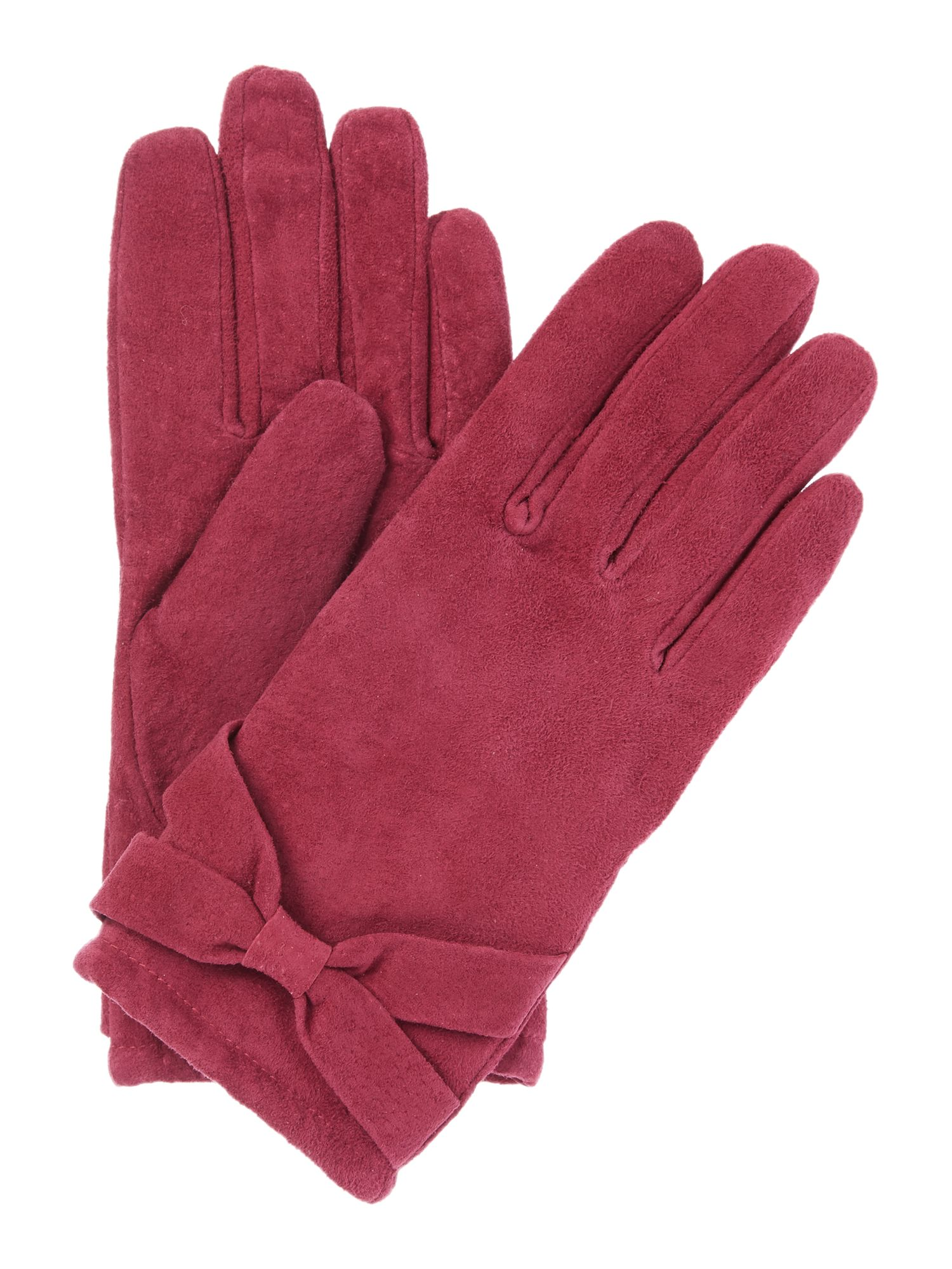 Isotoner Isotoner Suedette glove with bow detail, Berry