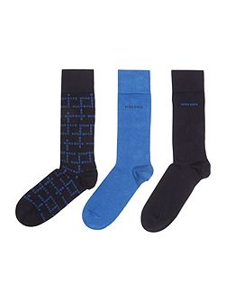 3 Pack Gift Printed and Plain Socks