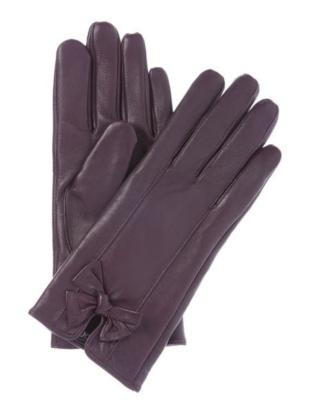 Isotoner Leather glove with bow