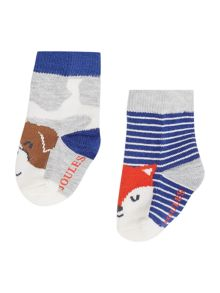 Joules Boys 2 Pack Dog and Fox Socks