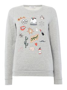 Pieces Comic print pyjama sweater