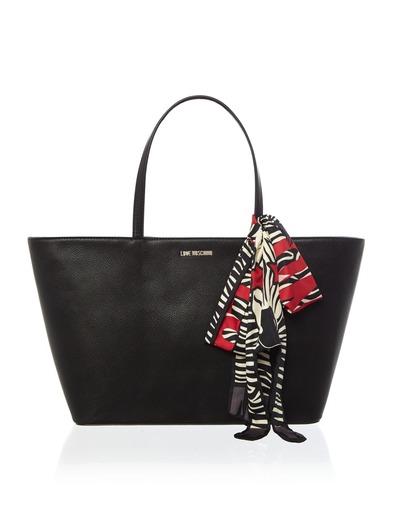 Love Moschino Animal scarf tote bag Black
