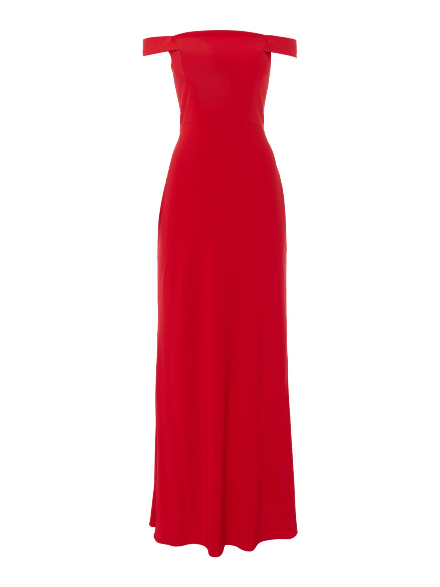 JS Collections Off the shoulder jersey gown, Red