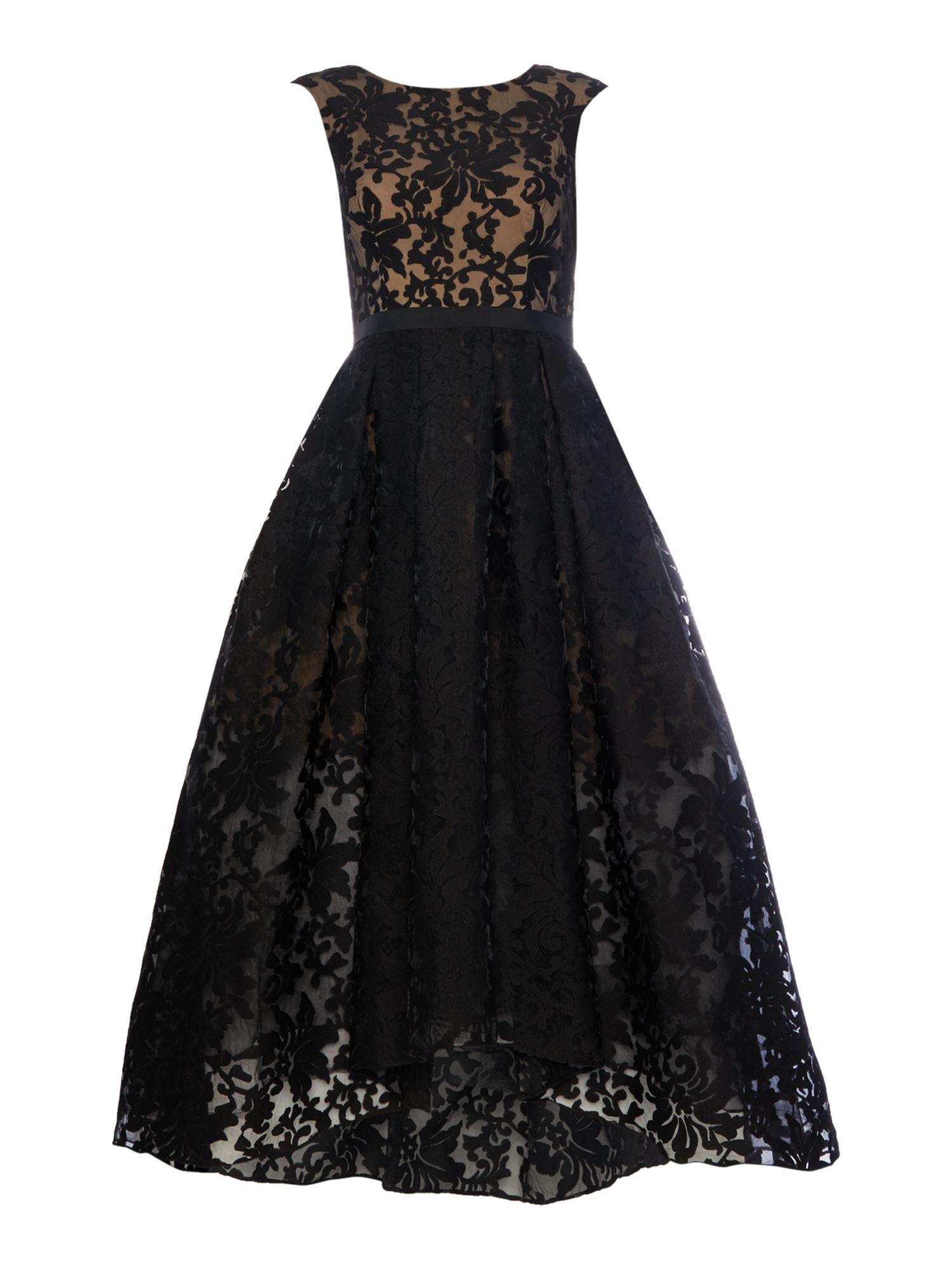 Js Collections JS Collections All over lace gown with high low hem, Black