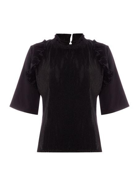 Lost Ink 3/4 Short Sleeve Ruffle Detail Top