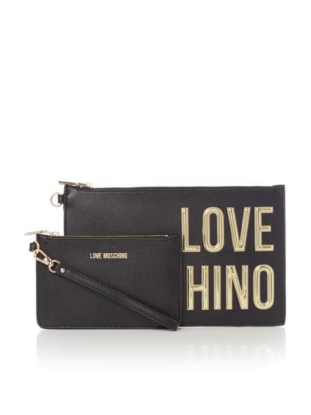 Love Moschino Gold letters clutch
