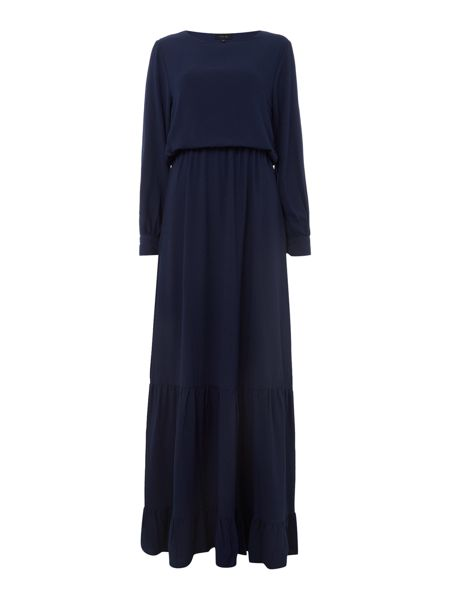 Lost Ink Long Sleeved Textured Waisted Maxi Dress