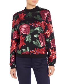 Lost Ink Long Sleeved Floral Sequin Mesh Sweater