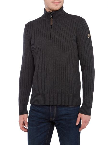 Schott NYC 1/4 Ribbed funnel neck jumper