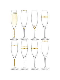 Deco champagne flute 225ml gold assorted set of