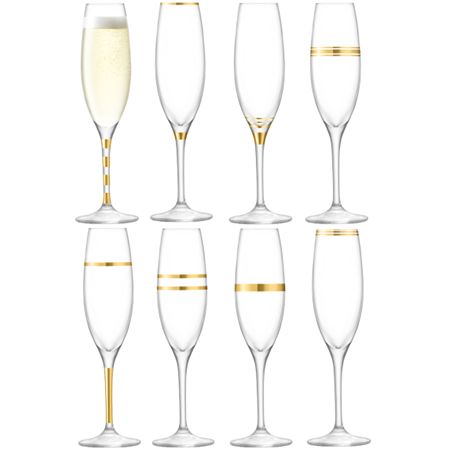 LSA Deco champagne flute 225ml gold assorted set of 8