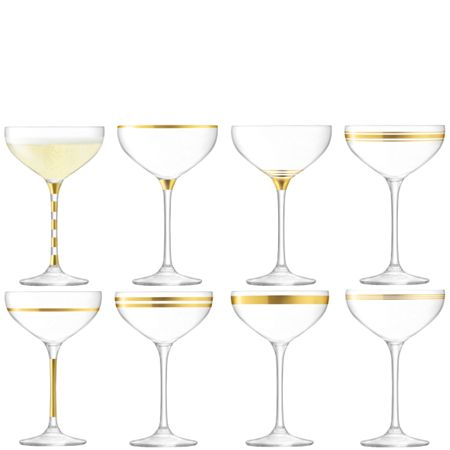 LSA Deco champagne saucer 235ml gold, set of 8