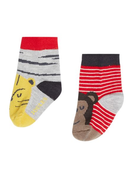 Joules Baby Boys Monkey and Lion Slippers